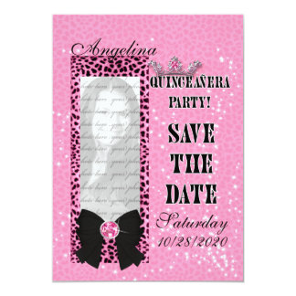 Quinceanera Save the Date Pink Cheetah Print Card