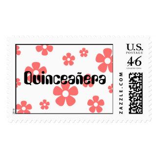 Quinceañera - sello rosado de las flores