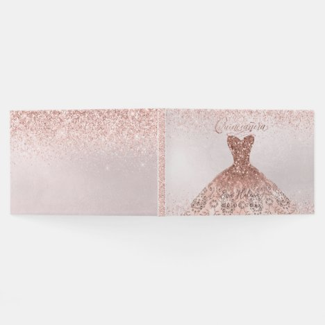 Quinceañera , Sparkle Gown, Rose Gold Guest Book