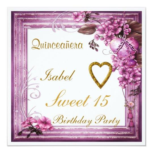 quinceanera sweet 15 birthday invitation pink  zazzle