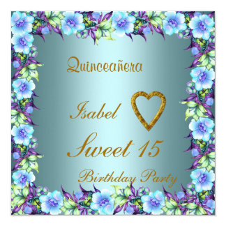 Quinceanera Sweet 15 Birthday Invitation Teal