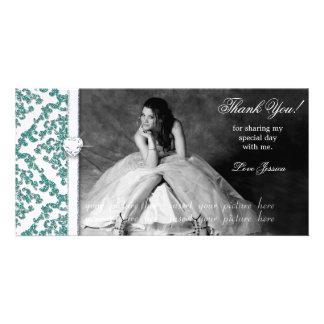 Quinceanera Sweet Sixteen Glitter Damask Photo Card