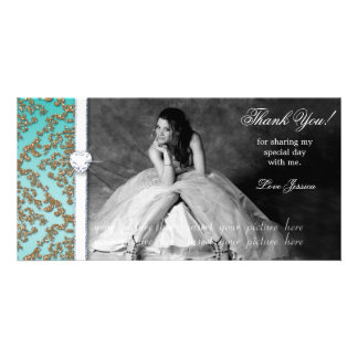Quinceanera Sweet Sixteen Grad Damask Photo Card