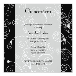 Quinceanera - Swirled Pattern, Swirls - Black Card