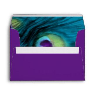 Quinceanera Teal and Purple Peacock Envelope