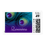 Quinceanera Teal and Purple Peacock Postage Stamp