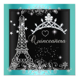 Quinceanera Teal Blue Glitter Tiara Eiffel Tower 5.25x5.25 Square Paper Invitation Card