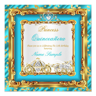 Quinceanera Teal Blue Gold Diamond Horse Carriage Card