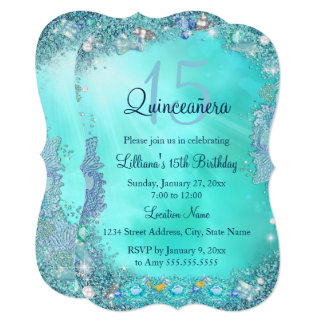 Quinceanera Teal Blue Ocean Jewel Birthday Party Card