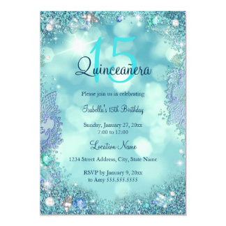 Quinceanera Teal Blue Ocean Sky Birthday Party Card