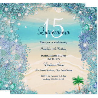 Quinceanera Teal Blue Sand Ocean Beach Birthday 2 Card