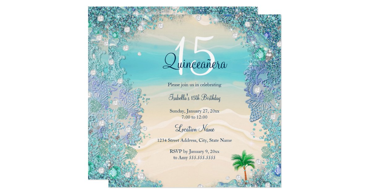 Ocean Jewels Invitations Announcements – How to Address a Birthday Card