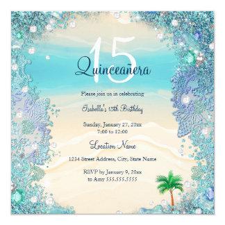 Quinceanera Teal Blue Sand Ocean Beach Birthday 2 Card