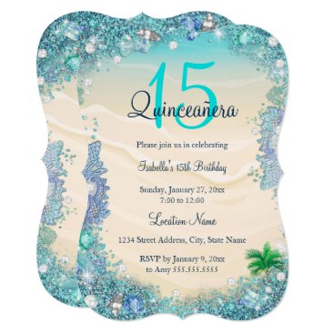 Zizzago Quinceanera Teal Blue Sand Ocean Beach Birthday Card