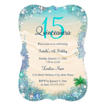 Beach Themed Quinceanera Teal Blue Sand Ocean Beach Birthday Card