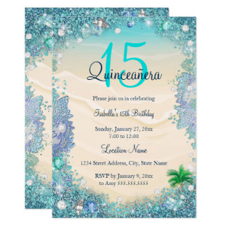 Quinceanera Teal Blue Sand Ocean Beach Birthday Card