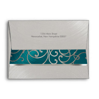 Quinceanera Teal Blue Silver Filigree Swirls Envelope