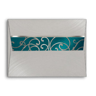 Quinceanera Teal Blue Silver Filigree Swirls Envelope