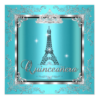 Quinceanera Teal Blue Silver Tiara Eiffel Tower 3 Card