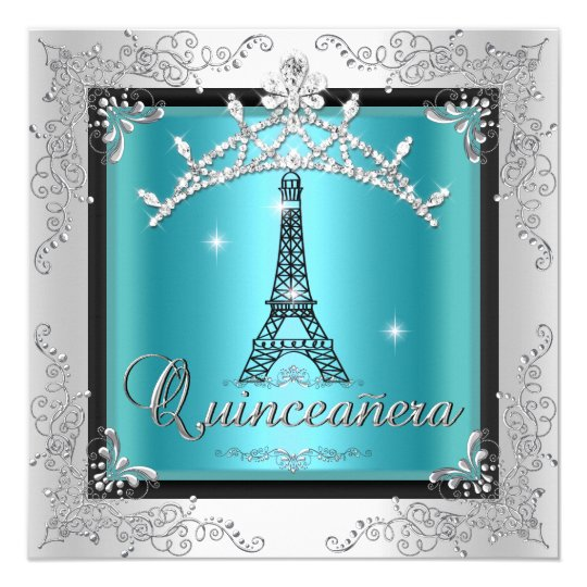 Quinceanera Teal Blue Silver Tiara Eiffel Tower Card