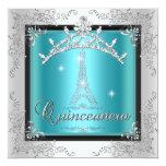 Quinceanera Teal Blue Silver Tiara Eiffel Tower Announcements