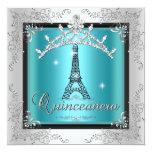 Quinceanera Teal Blue Silver Tiara Eiffel Tower Custom Invites