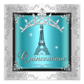 Quinceanera Teal Blue Silver Tiara Eiffel Tower 5.25x5.25 Square Paper Invitation Card