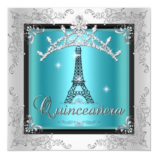 Quinceanera Teal Blue Silver Tiara Eiffel Tower Invitation