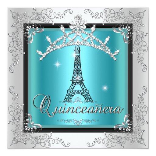 "Quinceanera Teal Blue Silver Tiara Eiffel Tower 5.25"" Square Invitation Card"