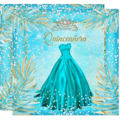 Quinceanera Teal Blue Tiara Dress Birthday Party Invitation