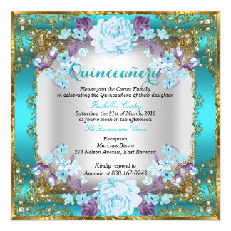 Quinceanera Teal Blue Vintage Country Floral Gold Card