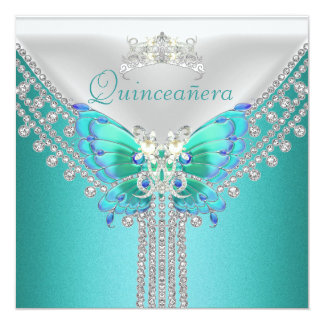 Quinceañera Teal Blue White Butterfly Diamond Card