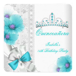 Quinceanera Teal Blue White Floral Diamond Tiara Card