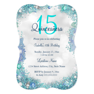 Quinceanera Teal Blue White Ocean Sky Birthday Card