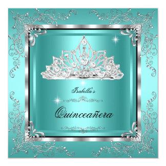 Quinceanera Teal Diamond Tiara 15th Birthday Card