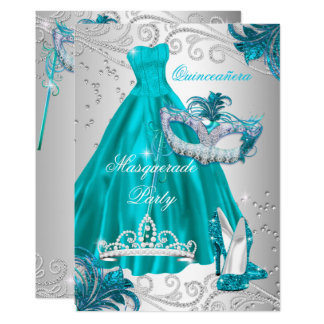 Quinceanera Teal Mask Silver Dress Masquerade Blue Card