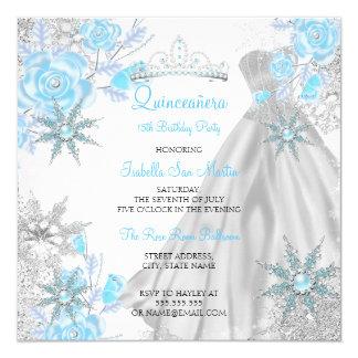 Quinceanera Teal Rose Winter Wonderland Snowflake Card