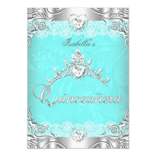 Quinceanera Teal Silver Diamond Tiara 15th Party Card