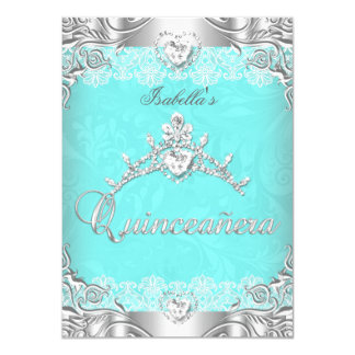 Quinceanera Teal Silver Diamond Tiara 15th Party 4.5x6.25 Paper Invitation Card