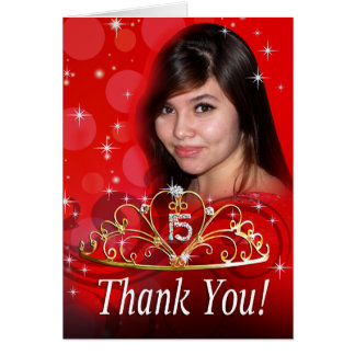 Quinceañera Thank You ask me to add your photo Stationery Note Card