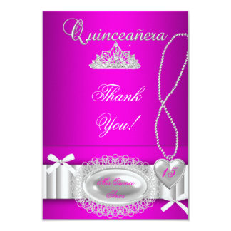 Quinceanera thank you Hot Pink Lace Card