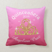 Quinceanera Tiara Bokeh Bling | ombre pink Throw Pillow