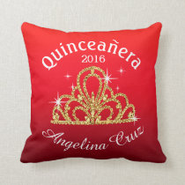 Quinceanera Tiara Bokeh Bling | ombre red Throw Pillow