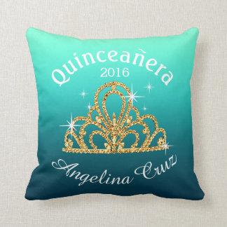 Quinceanera Tiara Bokeh Bling   ombre teal Throw Pillows