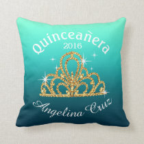 Quinceanera Tiara Bokeh Bling | ombre teal Throw Pillow