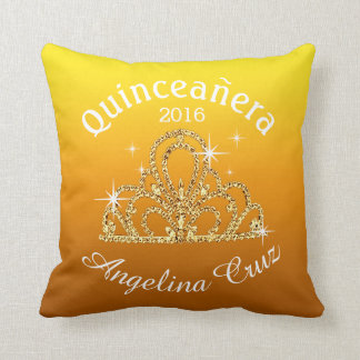 Quinceanera Tiara Bokeh Bling | ombre yellow Throw Pillow