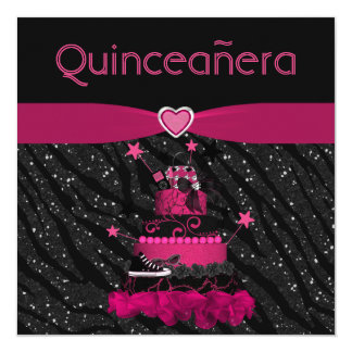 Quinceanera Trendy Pink Cake & Zebra Stripes Card