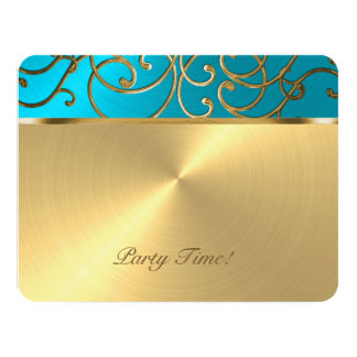 Quinceanera Turquoise Blue and Gold Filigree Swirl 4.25x5.5 Paper Invitation Card