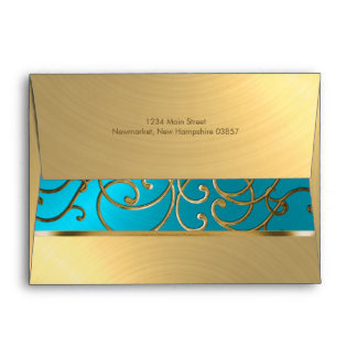 Quinceanera Turquoise Blue and Gold Filigree Swirl Envelope