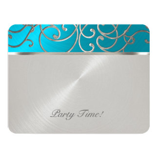 Quinceanera Turquoise Blue Silver Filigree Swirls Card